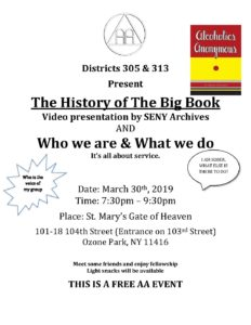 Districts 305 & 313 presents - The History of The Big Book & Who We Are & What We Do @ St. Mary's Gate of Heaven | New York | United States