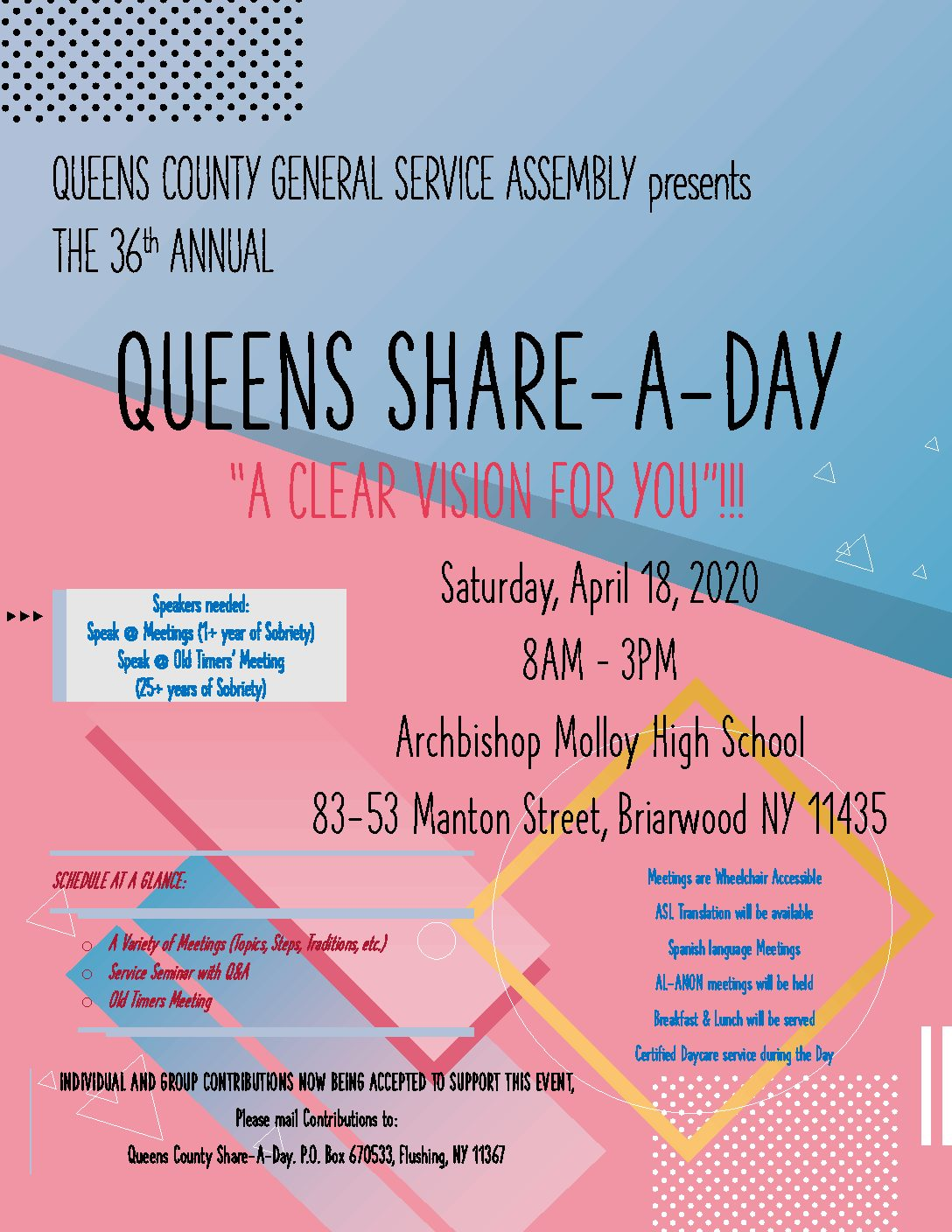 36th Annual Queens County Share-A-Day (POSTPONED due to Public Health Concerns!!)