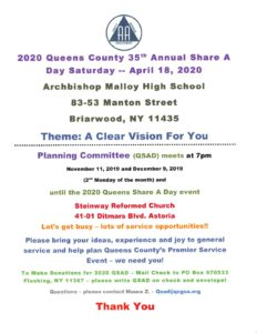 35th Annual Queens County Share-A-Day @ Archbishop Malloy High School