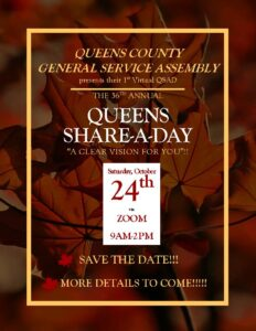 36th Annual Queens County Share-A-Day-SAVE THE DATE!! @ 1st Zoom QSAD