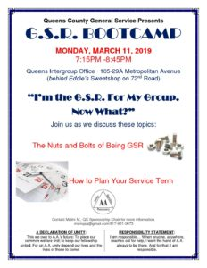 G.S.R Bootcamp @ Queens Intergroup Office | New York | United States
