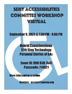 SENY Accessibilities Committee Workshop @ Virtual Platform | New York | New York | United States