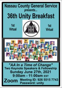 Nassau County General Service presents 1st Virtual Unity Breakfast @ Virtual Platform