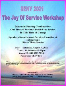 "Manhattan General Service presents a ""Joy of Service Workshop"" @ Virtual Platform"