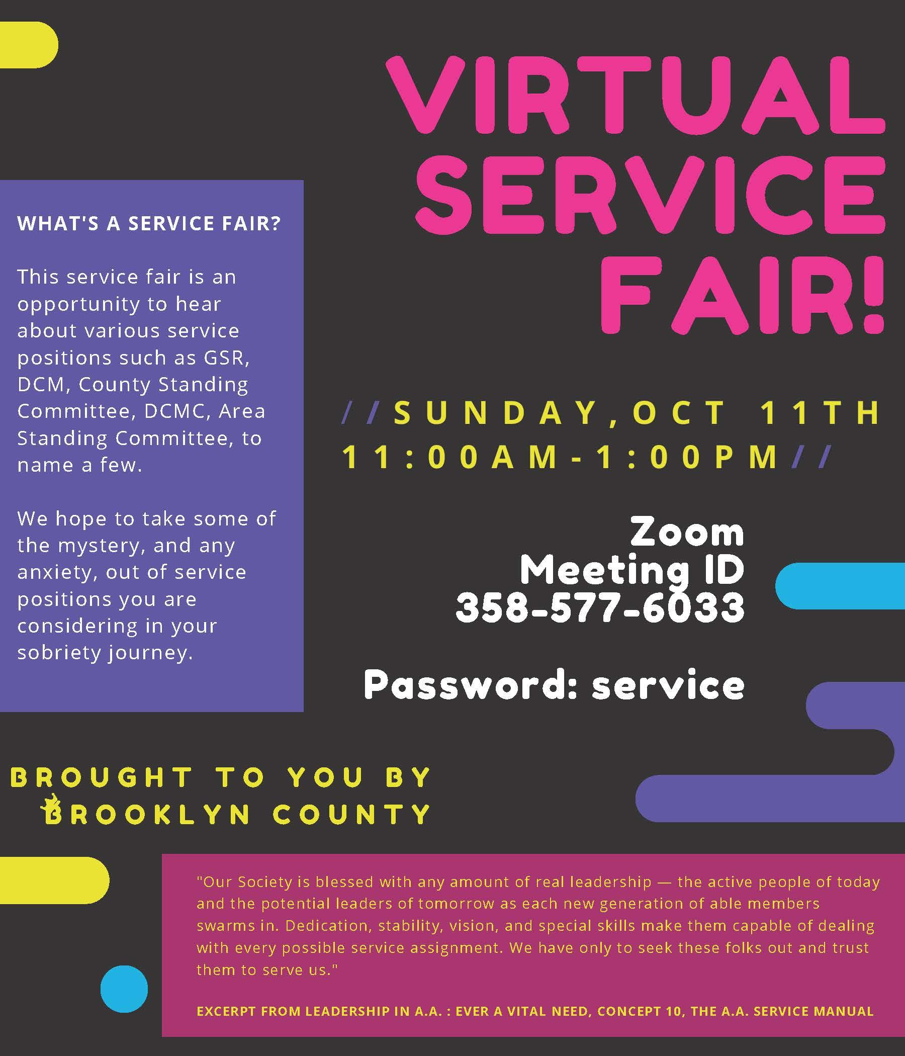 "Brooklyn County presents a ""Virtual Service Fair"" @ Zoom"